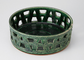 手造り織部 カゴメ鉢(大)