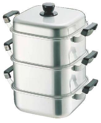 アルマイト角型蒸器 28cm 二重 【蒸籠 蒸篭 せいろ】【スチーマー】【蒸し器】【業務用厨房機器厨房用品専門店】