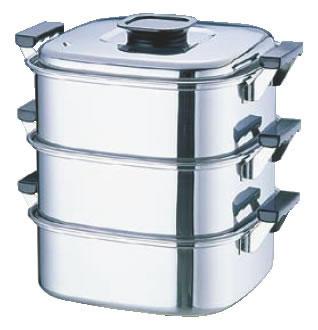 桃印18-0角型蒸器 22cm 3段 【IH対応】【蒸し器】【業務用厨房機器厨房用品専門店】