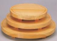 桧丸型溝切柾盛台 (中)【盛器】【白木盛器】【料亭に】【白木】【木製】【M-3-43】