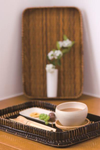 茶染松葉盆
