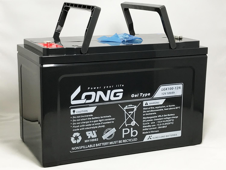 新作商品 LONG 12V100Ah 耐久性2倍 期待寿命10~15年 密閉型ゲルバッテリー LGK100-12N 高サイクル 長寿命 完全密封型鉛蓄電池 あらゆる電源用途 緊急電源用 ソーラー発電用 船舶やキャンピングカーのサブバッテリー などに特に最適, テラネット 7c07fc49