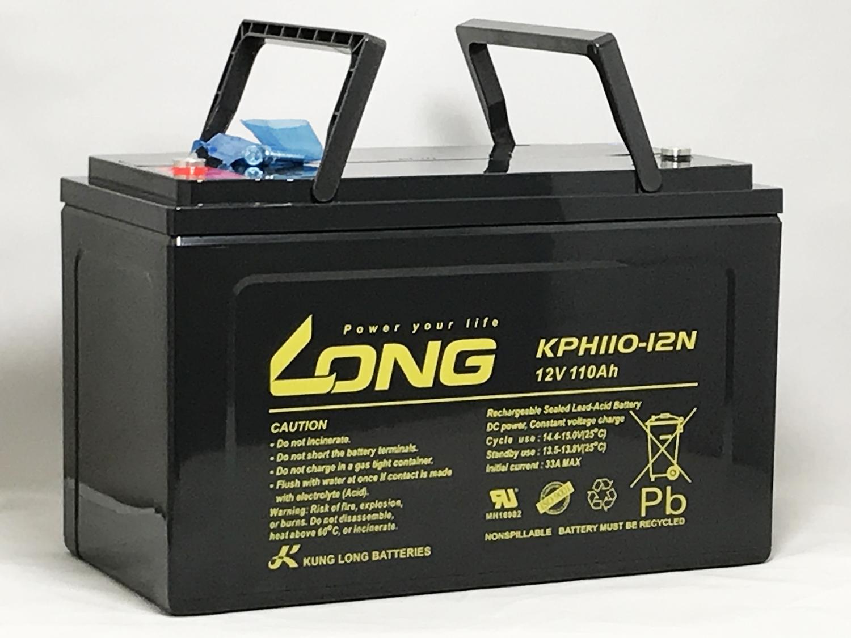 電極に特殊合金を採用したため、期待寿命が大幅にアップ致しております!期待寿命10年~15年!緊急時のバックアップ電源用に最適です。 KPH110-12N 12V110Ah シールドバッテリー 長寿命タイプ 期待寿命10年~15年 完全密封型鉛蓄電池 緊急電源用 地震・停電対策 待機充電向け LONG(沖縄県・離島には配送できません)