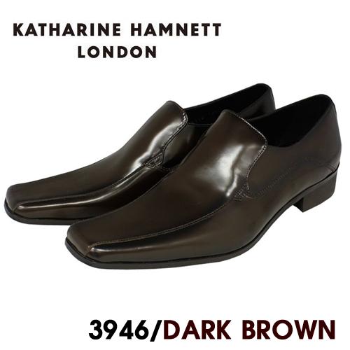KATHARINE HAMNETT ビジネスシューズ 紳士靴 本革 実物 送料無料 HAMNETT3946 ダークブラウン キャサリンハムネット 本革スリッポンローファービジネスシューズ紳士靴 期間限定特別価格