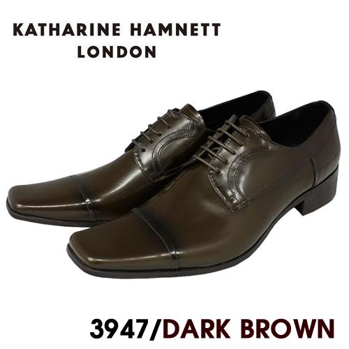 KATHARINE HAMNETT ビジネスシューズ 品質保証 紳士靴 新商品 新型 本革 本革紐ストレートチップビジネスシューズ紳士靴 送料無料 キャサリンハムネット ダークブラウン HAMNETT3947