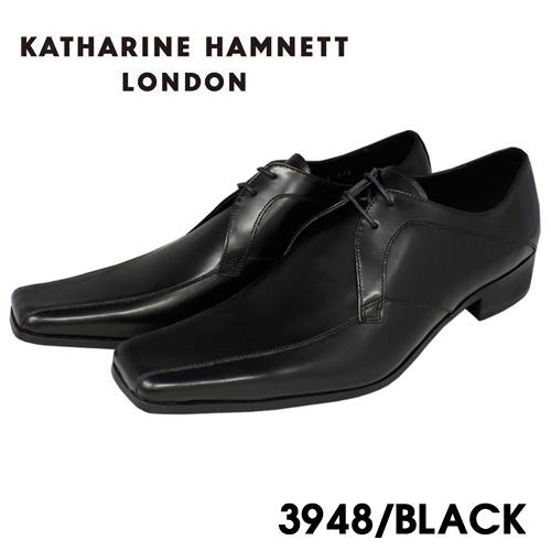 KATHARINE 現品 HAMNETT 新品■送料無料■ ビジネスシューズ 紳士靴 本革 ブラック HAMNETT3948 キャサリンハムネット 本革紐流れビジネスシューズ紳士靴 送料無料