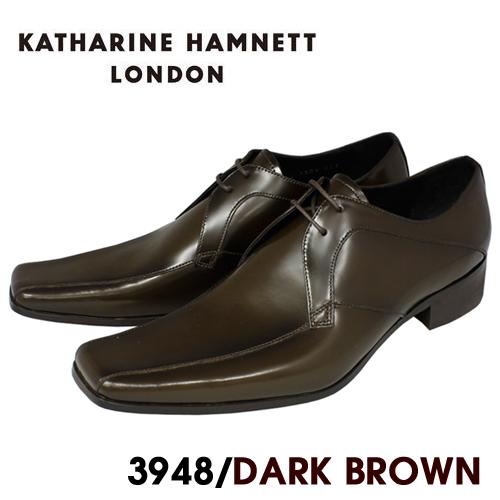 KATHARINE HAMNETT ビジネスシューズ ギフト プレゼント ご褒美 紳士靴 本革 キャサリンハムネット 『4年保証』 ダークブラウン HAMNETT3948 送料無料 本革紐流れビジネスシューズ紳士靴