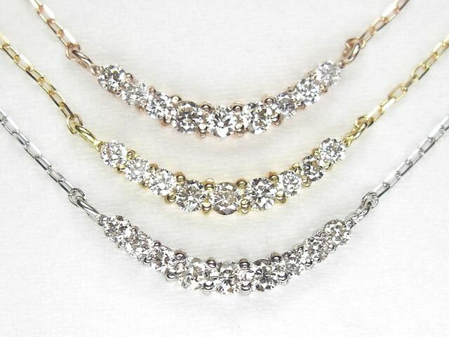【クーポン配布中】K18 天然ダイヤモンドラインネックレス0.1ct