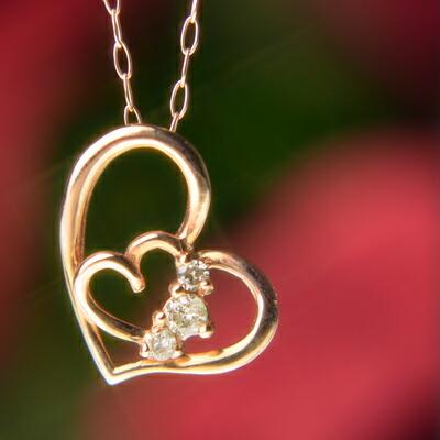 天然ダイヤモンドハートinハートネックレス ダイヤモンド ネックレス ペンダント ハート 4月誕生石 誕生日プレゼント