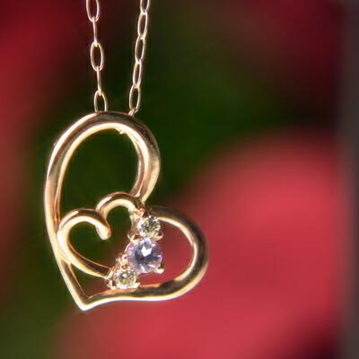 【送料無料】天然アメジスト&天然ダイヤモンドハートinハートネックレス【アメジスト】【ネックレス】【ペンダント】【ハート】【ダイヤモンド】【2月誕生石】【2月】【誕生日プレゼント】