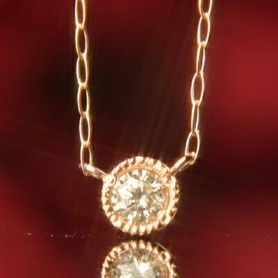 【P10倍+クーポン配布中】天然ダイヤモンドミル打ちネックレス【ダイヤモンド】【ネックレス】【ペンダント】【フクリン】【4月誕生石】【4月】【誕生日プレゼント】