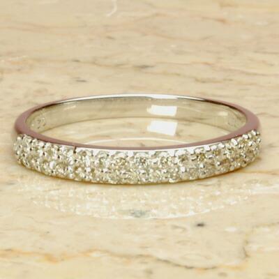 【クーポン配布中】【送料無料】WGホワイトゴールド天然ダイヤモンド2連ハーフエタニティリング【3号から製作できますので、ピンキーリングにも♪】