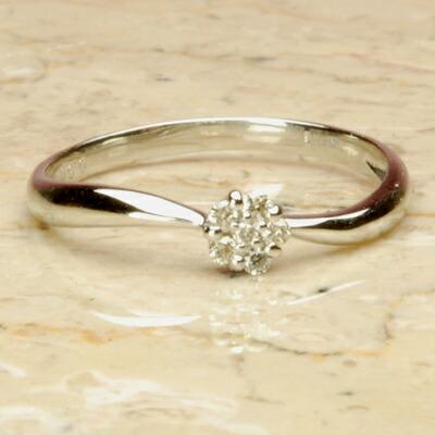 【送料無料】WGホワイトゴールド天然ダイヤモンドフラワーリング【ダイヤモンド】【リング】【ピンキーリング】