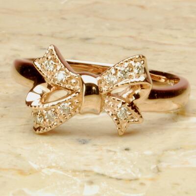 【送料無料】PGピンクゴールド天然ダイヤモンドリボンリング【3号から製作できますので、ピンキーリングにも♪】