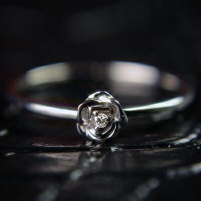 【マラソン クーポン配布中】【送料無料】WG天然ダイヤモンドローズリング『Rose Garden』【ダイヤモンド】【リング】【1号~】【ローズ】【薔薇】【ポッキリ】【4月誕生石】