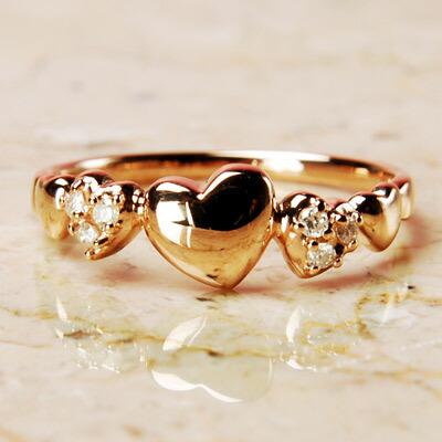 【送料無料】PGピンクゴールド天然ダイヤモンドファイブハートリング【ダイヤモンド】【リング】【ハート】【ハートリング】