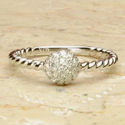 WGホワイトゴールド天然ダイヤモンドラウンドパヴェリング ダイヤパヴェリング パヴェ ダイヤリング