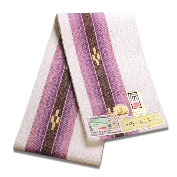 八重山ミンサー織り 送料無料 半幅帯 白地紫系グラデーション茶絣 伝産マーク 石垣島産本場手織り パープル ホワイト 永遠の愛の証 みんさー織り