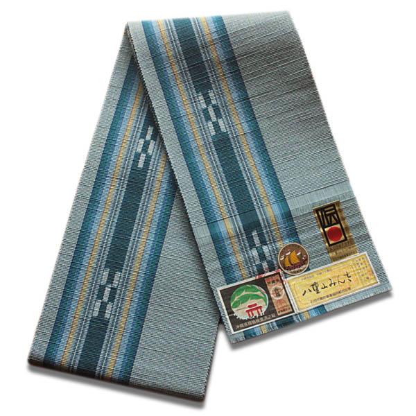 八重山ミンサー織り 送料無料 半幅帯 水色系地青緑絣 ブルー 伝産マーク 石垣島産本場手織り 永遠の愛の証 みんさー織り