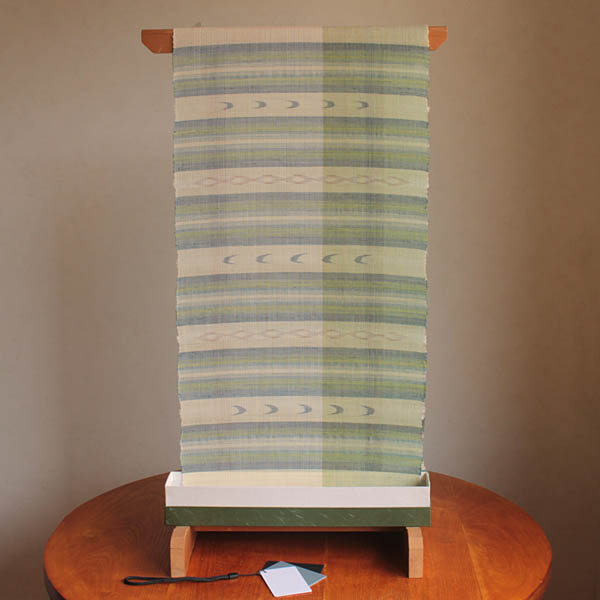 八重山上布 9寸仕立帯 送料無料 苧麻 草木染め 手織り 伝産マーク 石垣島産本場手織り 銀行振込のみ お仕立てはお客様にてお願いいたします。