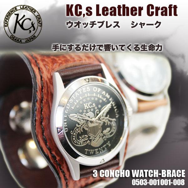 【送料無料】KC,s ケイシイズ 時計 ケーシーズ 時計 レザーブレスウォッチ 3 コンチョ シャーク 腕時計 革ベルト