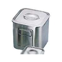 シンプルなステンレス製!! UK18-8 角深キッチンポット 手付 33cm 07015-14【容器・ストッカー・調味料容器】