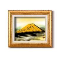 12650 葛谷聖山(梅月)日本画額F6金 「金富士」【置物・掛け時計】