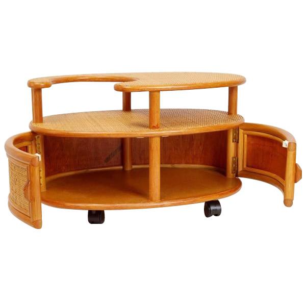 和 洋問わず どんなお部屋にもマッチするポットワゴン 売れ筋 代引き 同梱不可 籐ポットワゴン 家具 倉庫 イス GNM039 テーブル