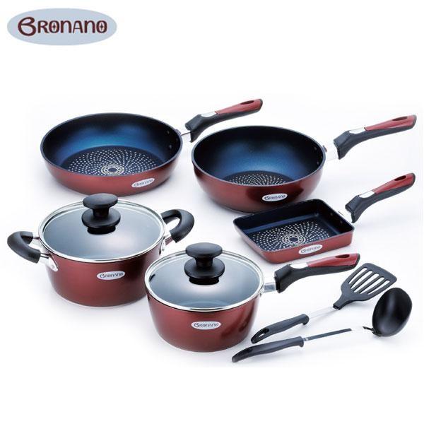 BRONANO(ブラナーノ) IH対応 鍋&フライパン 5点セット (お玉・ターナー付) BM-9532【鍋(パン)】