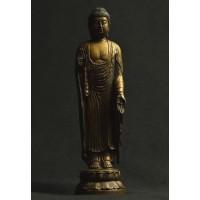 真の古美術品と同じ美とやすらぎ。 釈迦如来 金銅仏仕上げ 50173【その他インテリア】