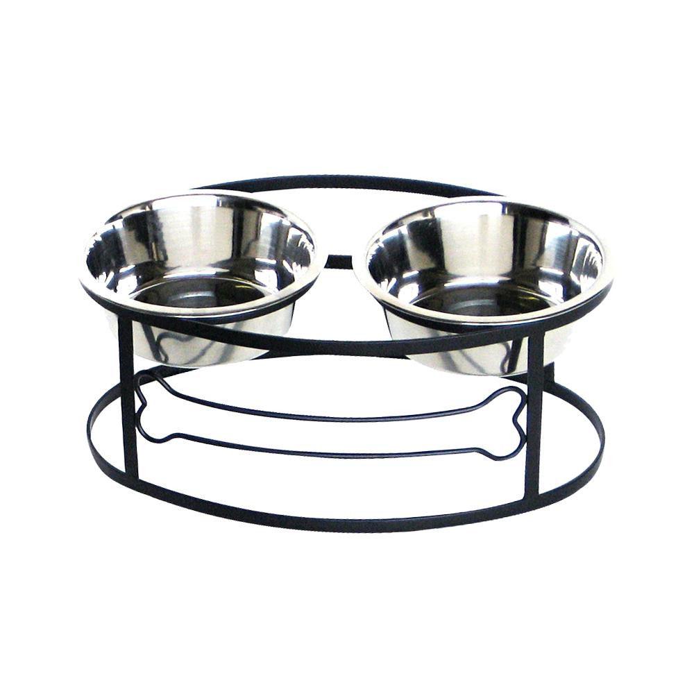 ボーンデザインが可愛いフードスタンド☆ 正規輸入品 ペッツストップ Pets Stop お得クーポン発行中 フードスタンド ブラック ペット ボーンダブルダイナー M 犬用品 RDB3M-BONE 売り込み