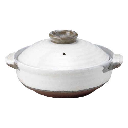 34-03634 萬古焼 粉引 10号鍋 【鍋(パン)】