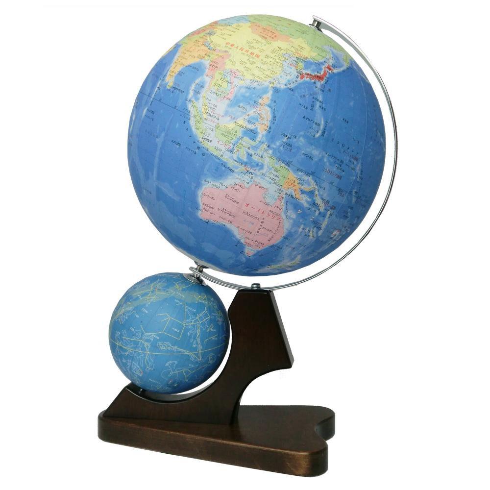 【代引き・同梱不可】SHOWAGLOBES 地球儀 行政図タイプ 天球儀付き 26cm 26-GWJ(知育玩具)