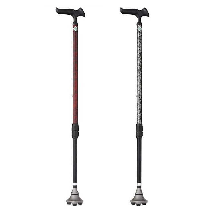【代引き・同梱不可】フジホーム 杖 かるがも3ポイントステッキ【シルバー用品】