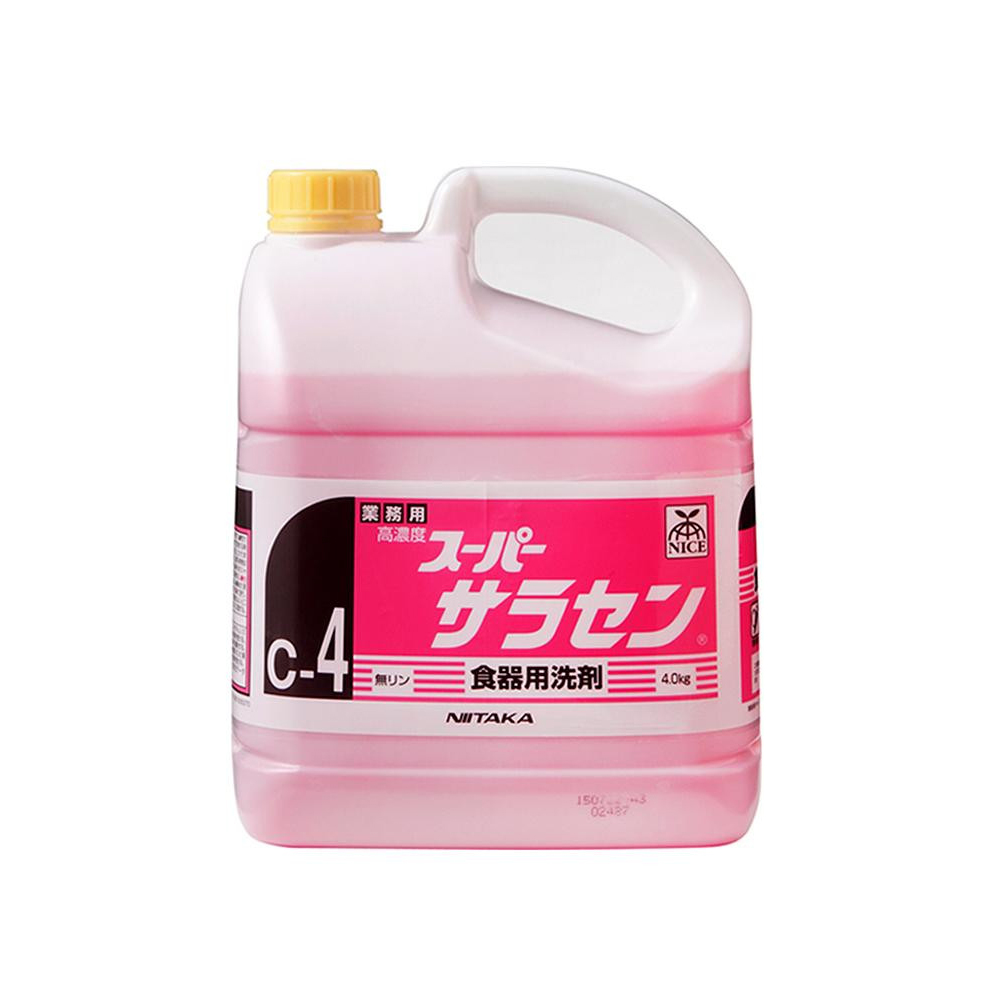 【代引き・同梱不可】業務用 食器用洗剤 高濃度 スーパーサラセン(C-4) 4kg×4本 211842【洗剤】