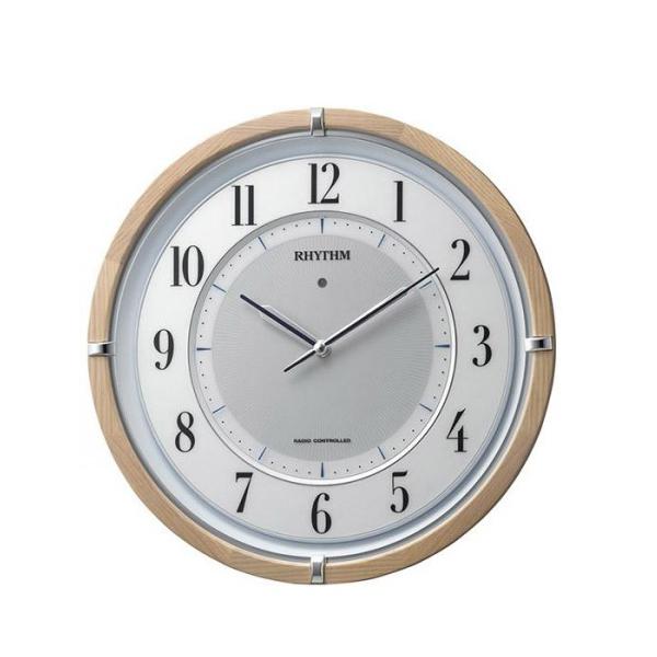 リズム時計 サイレントソーラー M848 06薄茶半艶仕上(白) 4MY848SR06【置物・掛け時計】