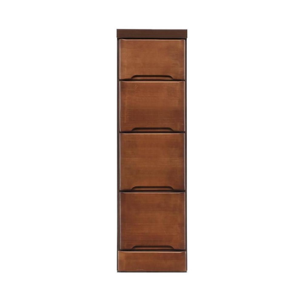 【代引き・同梱不可】クライン サイズが豊富なすきま収納チェスト ブラウン色 4段 幅25cm【リビング収納】