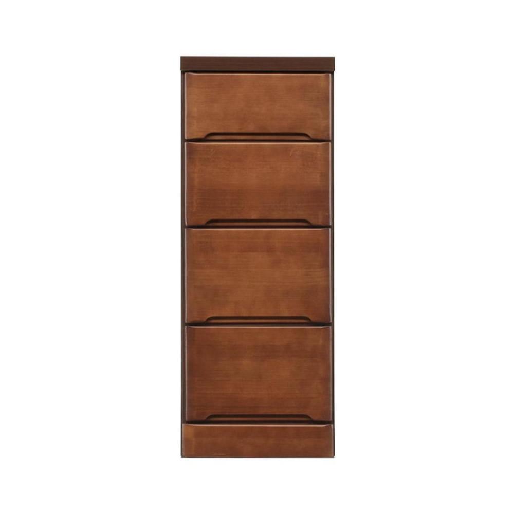 【代引き・同梱不可】クライン サイズが豊富なすきま収納チェスト ブラウン色 4段 幅32.5cm【リビング収納】