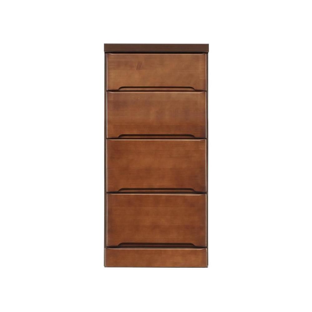【代引き・同梱不可】クライン サイズが豊富なすきま収納チェスト ブラウン色 4段 幅37.5cm【リビング収納】