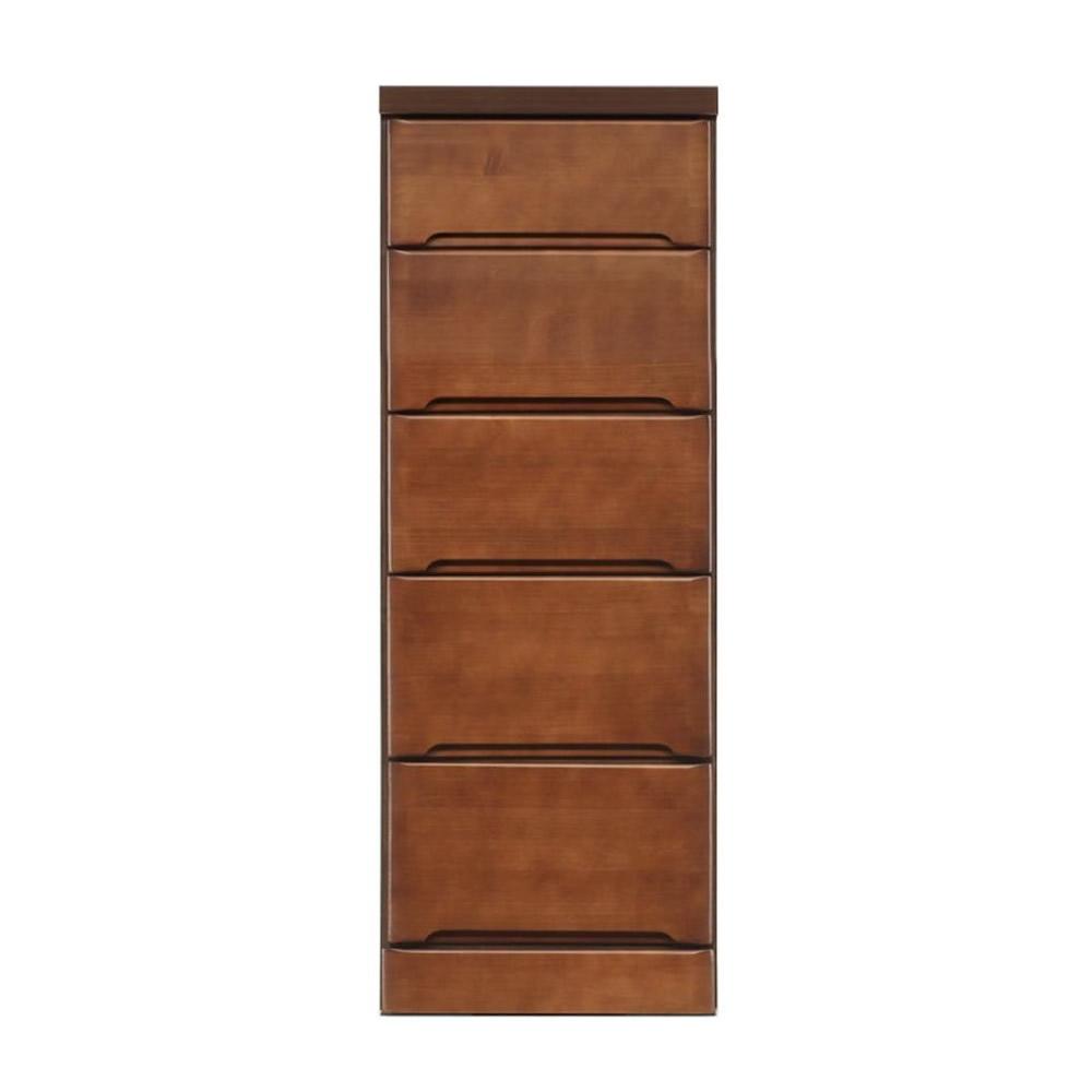 【代引き・同梱不可】クライン サイズが豊富なすきま収納チェスト ブラウン色 5段 幅37.5cm【リビング収納】