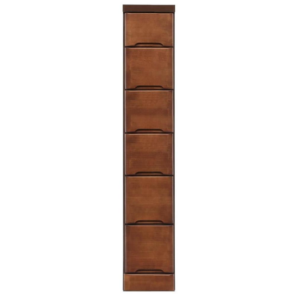 【代引き・同梱不可】クライン サイズが豊富なすきま収納チェスト ブラウン色 6段 幅22.5cm【リビング収納】