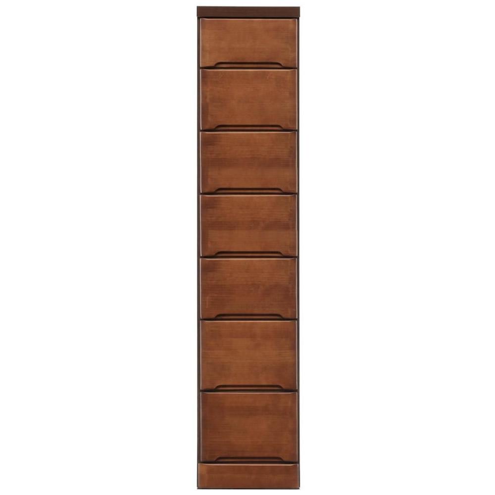 【代引き・同梱不可】クライン サイズが豊富なすきま収納チェスト ブラウン色 7段 幅30cm【リビング収納】