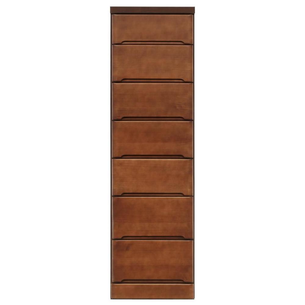【代引き・同梱不可】クライン サイズが豊富なすきま収納チェスト ブラウン色 7段 幅40cm【リビング収納】