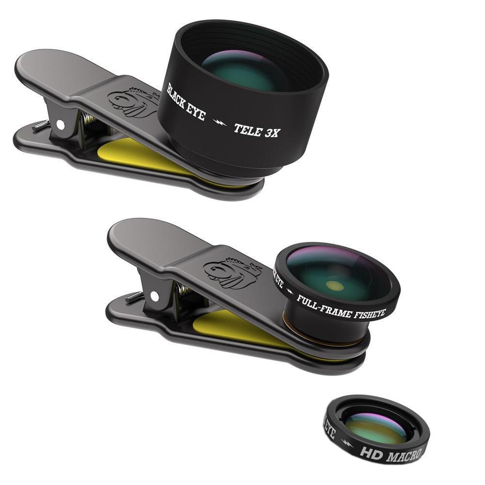 BLACK EYE(ブラックアイ) スマホ用クリップ式レンズ PRO KIT 魚眼&光学3倍望遠&HDマクロ レンズ3点セット PRO KIT PK001【PC・携帯関連】