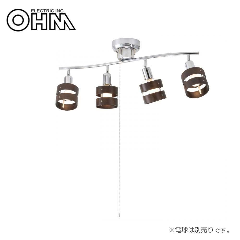 オーム電機 OHM 室内照明器具 4灯シーリングライト ウッドリング 電球別売 LT-YN40BW【照明】