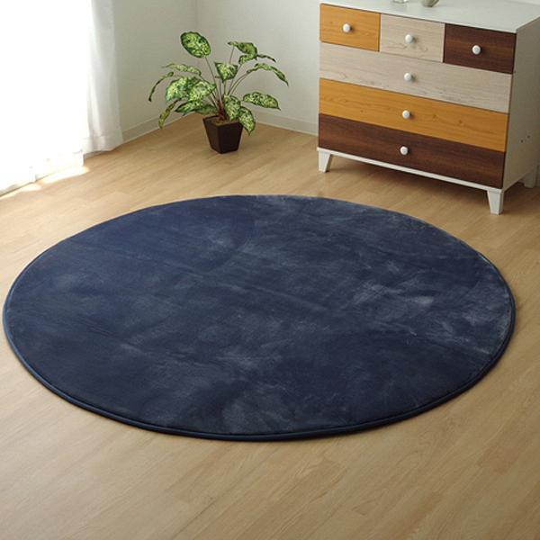 ラグ カーペット 円形 『低反発プレージュIT』 ブルー 約185cm丸 (ホットカーペット対応) 9810879【敷物・カーテン】