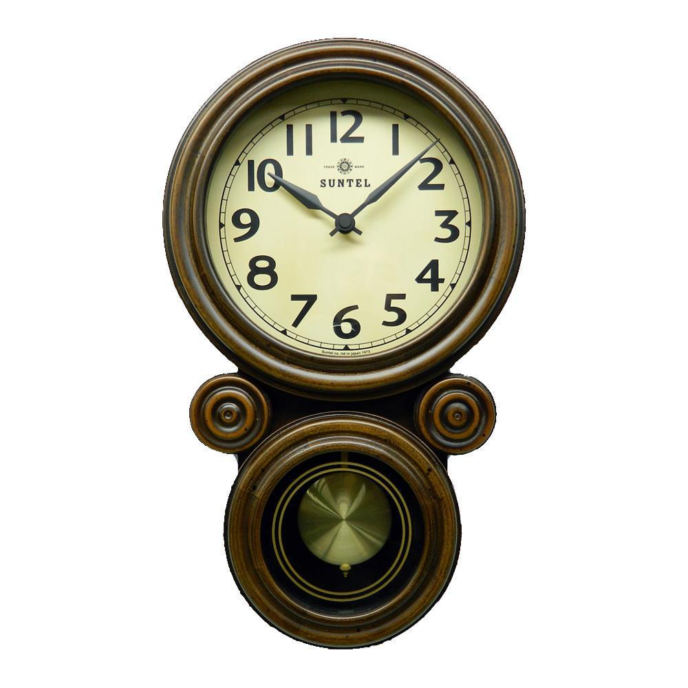 さんてる 日本製 ミニだるま 電波振り子時計 アンティークブラウン DQL676【置物・掛け時計】