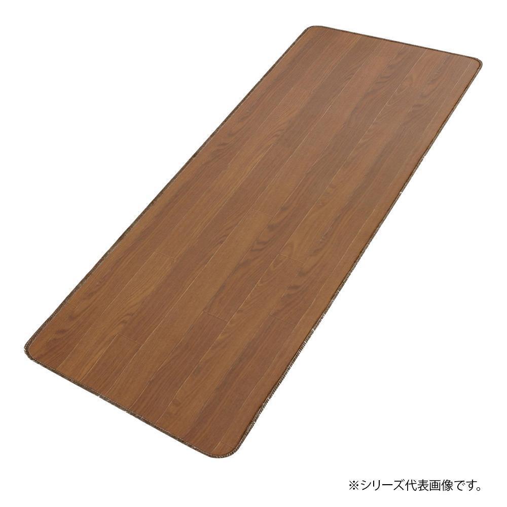 日本製 木目調サッと拭けるロングマット 80×440cm チーク・6239【敷物・カーテン】