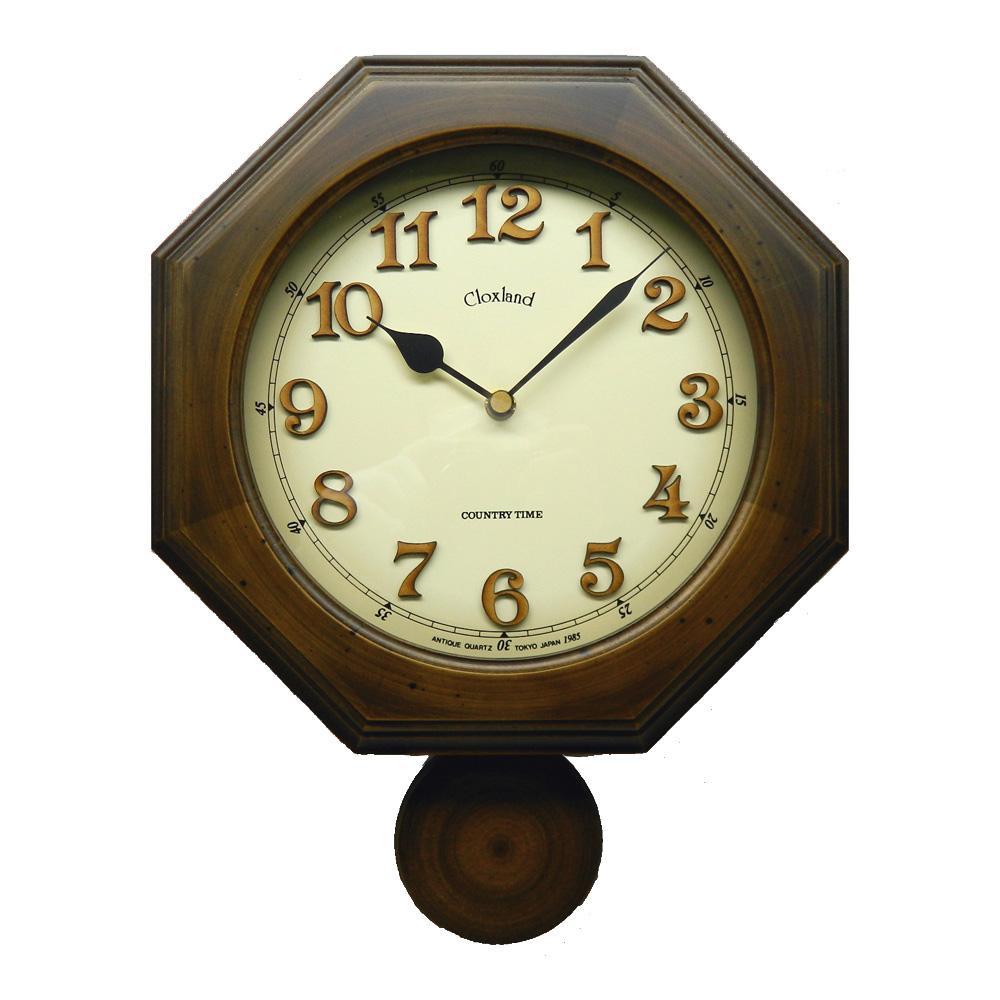 昔ながらのなつかしい振り子時計 さんてる 日本製 商舗 レトロ 八角 電波外振り子 掛け時計 置物 DQL635 植え文字 安売り アンティークブラウン