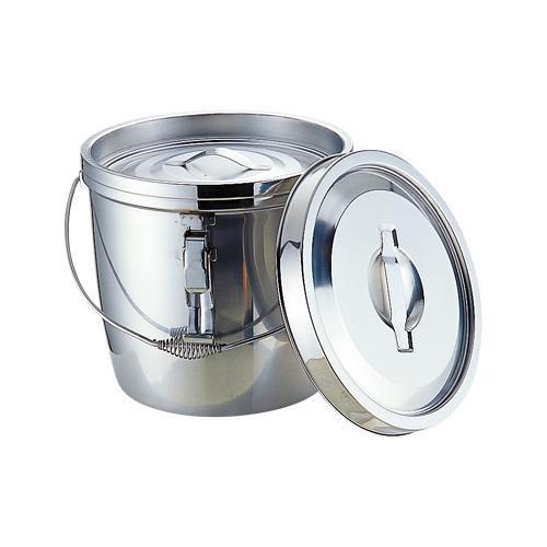 ステンレス製の食缶。 18-8二重保温食缶(中蓋式) クリップ付ツル取手付 6L 012317-001【容器・ストッカー・調味料容器】